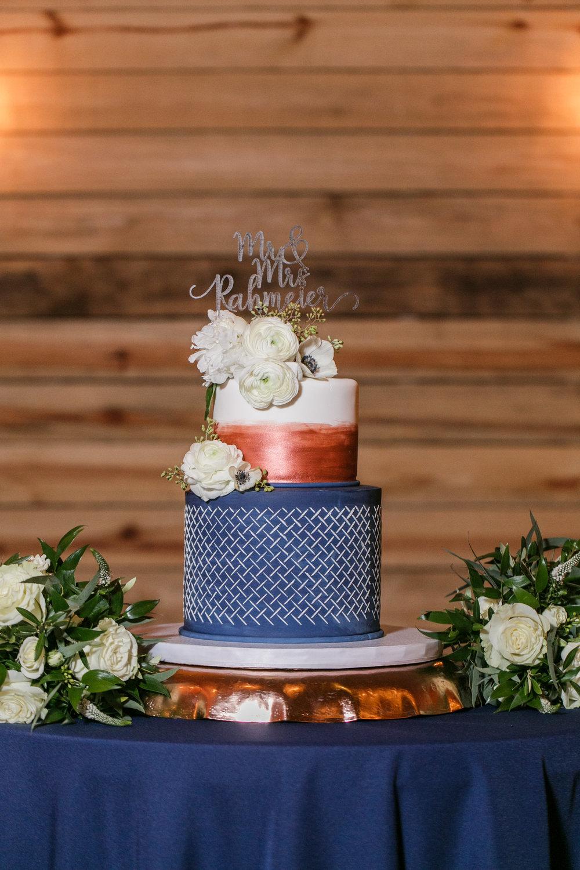 blue and copper wedding cake.jpg