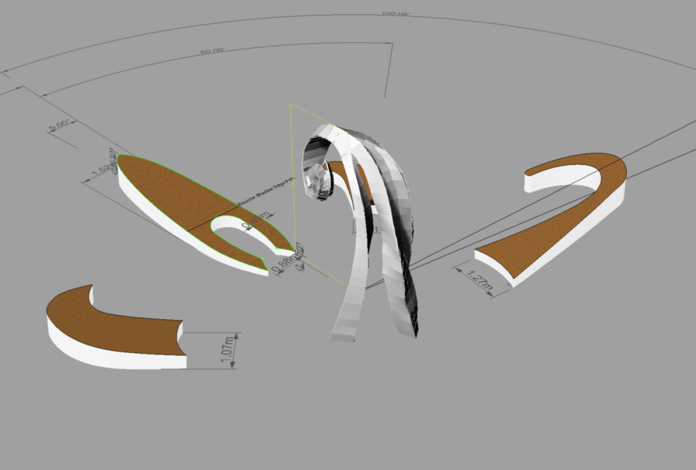 Early concept models of the sculptural sundial seating.
