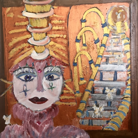 ANCIENT PRIESTESS GUARDIAN 30 X30        Mixed Media Acrylic          $1800