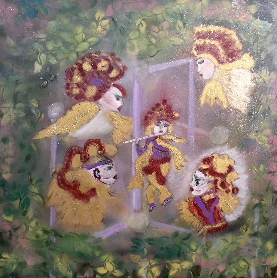 ANCIENT DEITIES 36 X 36       Mixed Media Acrylic               $3300.00