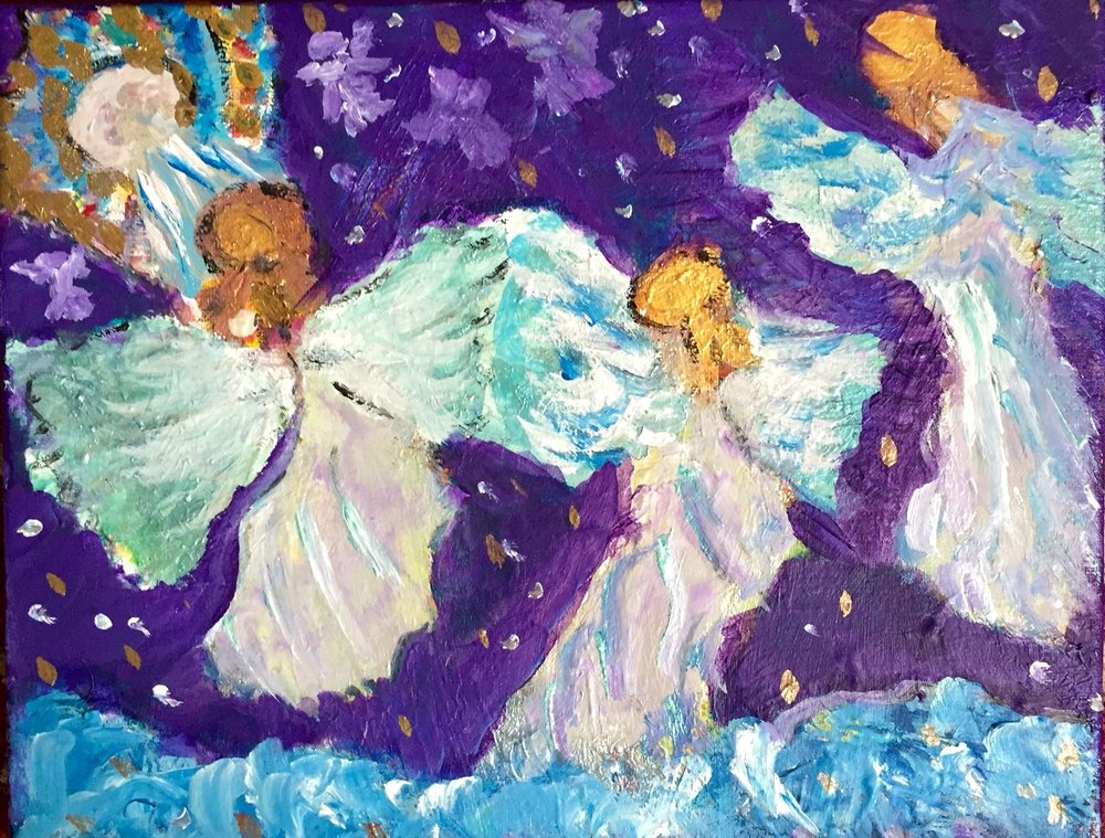 THREE ANGELS CALLED HOME 11X14  Acrylic on Canvas             $333