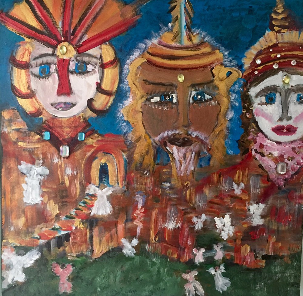THE CREATOR GODS 24 x 24                  Mixed Media on Canvas                   $1690