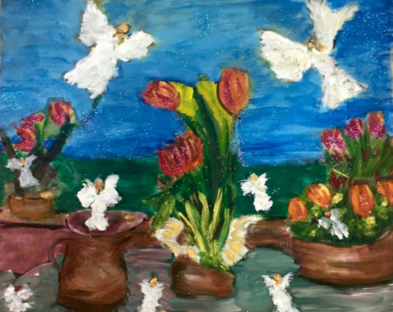 FLOWER ANGELS 24 X 30          Mixed Oil and Acrylic on Canvas        $1850