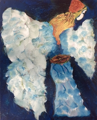 THE BLUE ANGEL 16 x 20              Mixed Media Acrylic                    $388