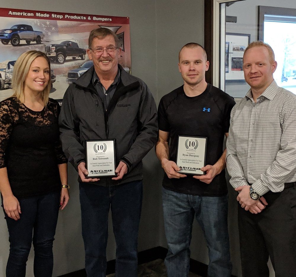Robert Tetreault and Ryan Dacquay presented with their 10 Year Anniversary Awards.