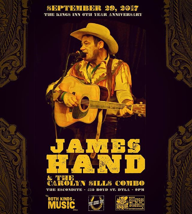 James Hand. As real as it gets. Coming to Los Angeles Friday, Sept. 29th to @theescondite for @thekingsinn . No Cover.