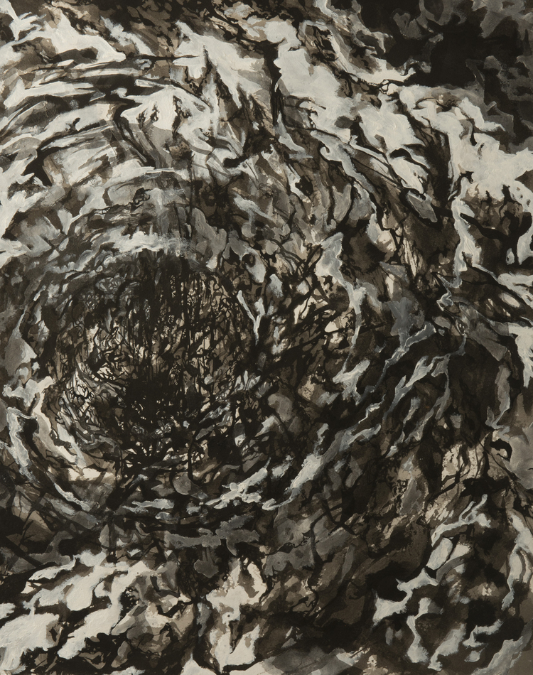 Diadem, 2015, ink acrylic and charcoal on watercolor paper, 24 x 18 inches