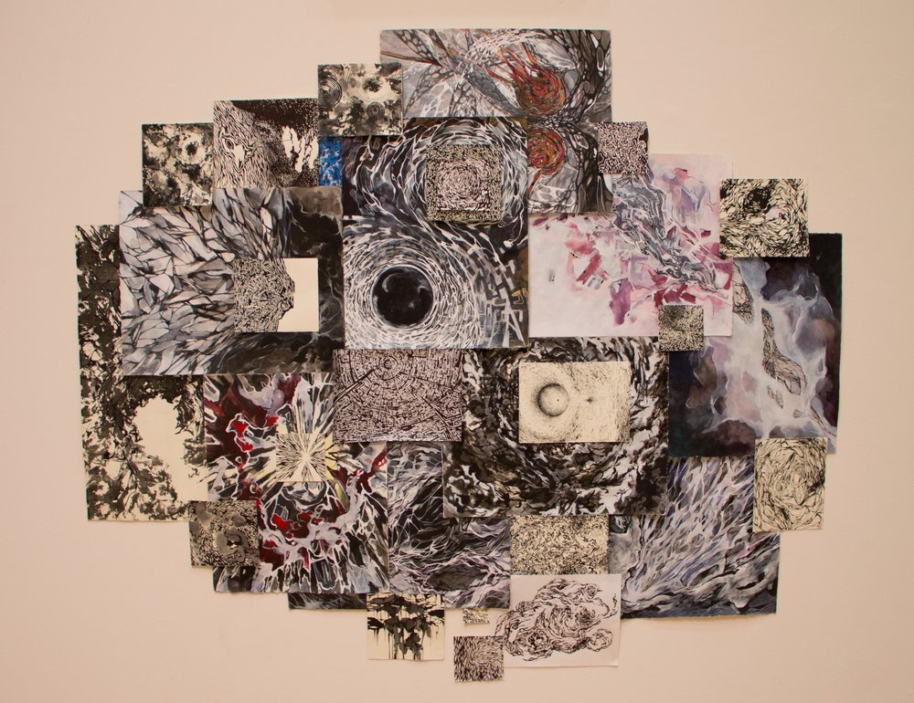 2015, collage of drawings (ink charcoal acrylic and pencil on paper), 60 x 72 inches