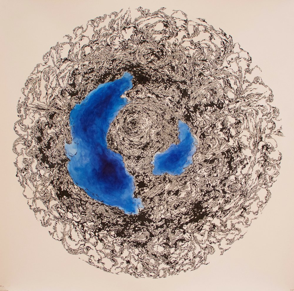 Emergence, 2015, ink and acrylic on paper, 53 x 53 inches