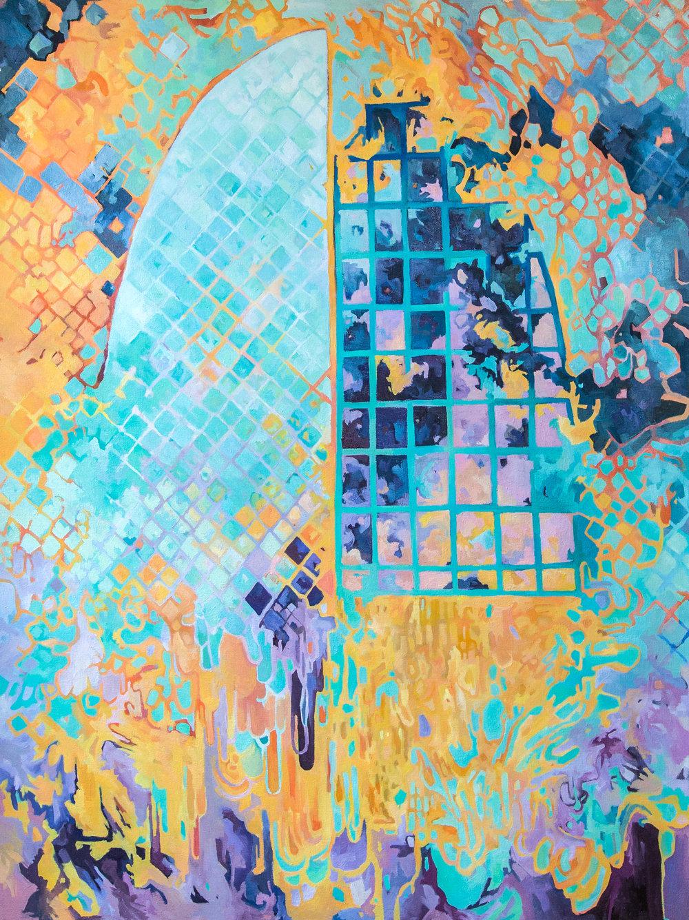 Through a High Window, 2018, oil on canvas, 47 x 36 inches