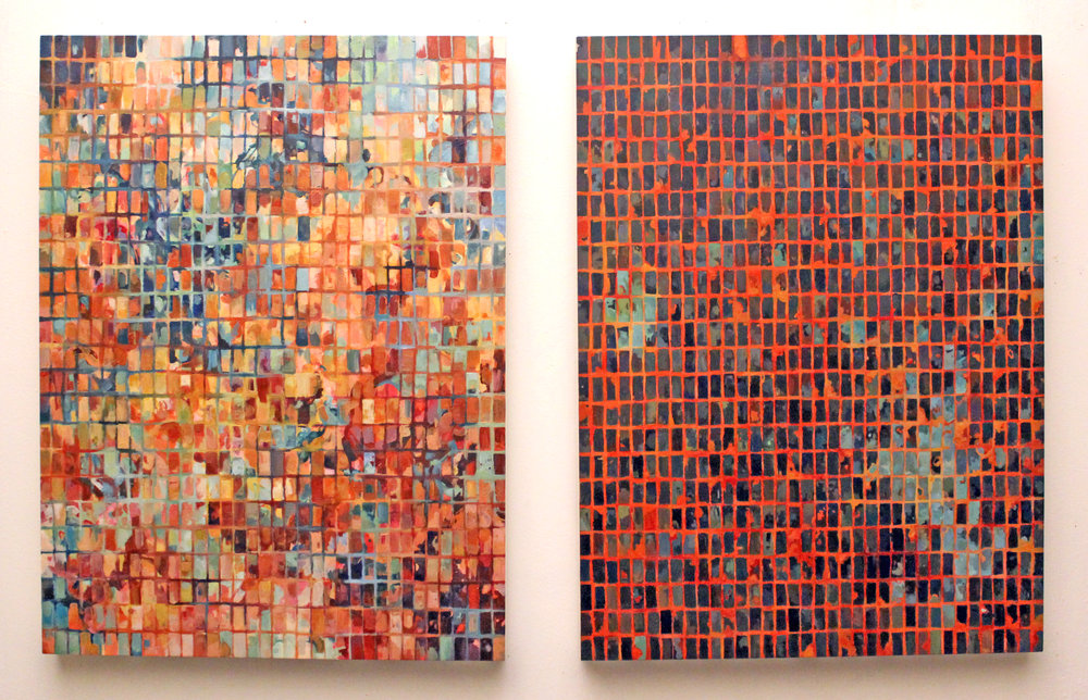 For Justin (Windows and Walls), 2017, Acrylic on Panel, each 24 x 18 inches