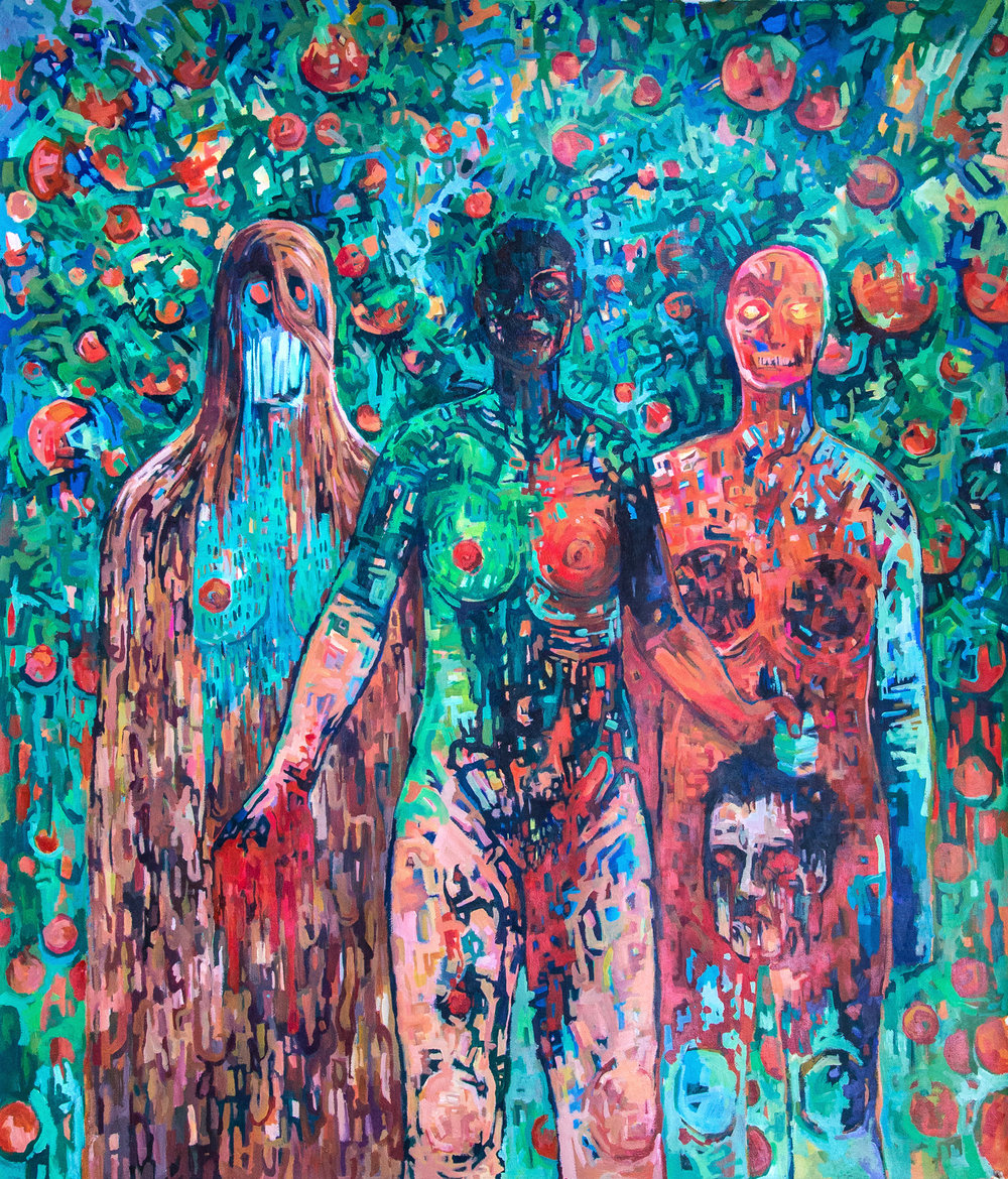 Agnes, Judith, and Agatha, 2017, Acrylic on Watercolor Paper, 52 x 40 inches