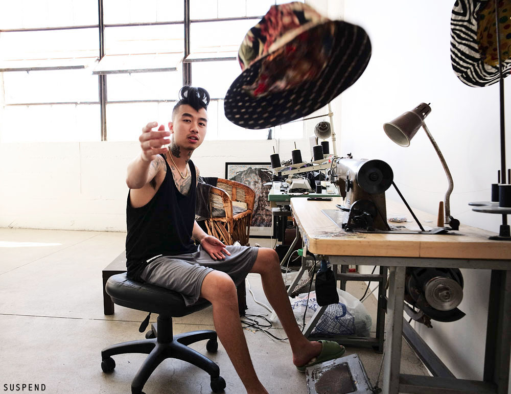 Bo Vu at his workspace loft in the Garment Industry in Downtown Los Angeles / Photo: Chris Cash, SUSPENDMAG.com