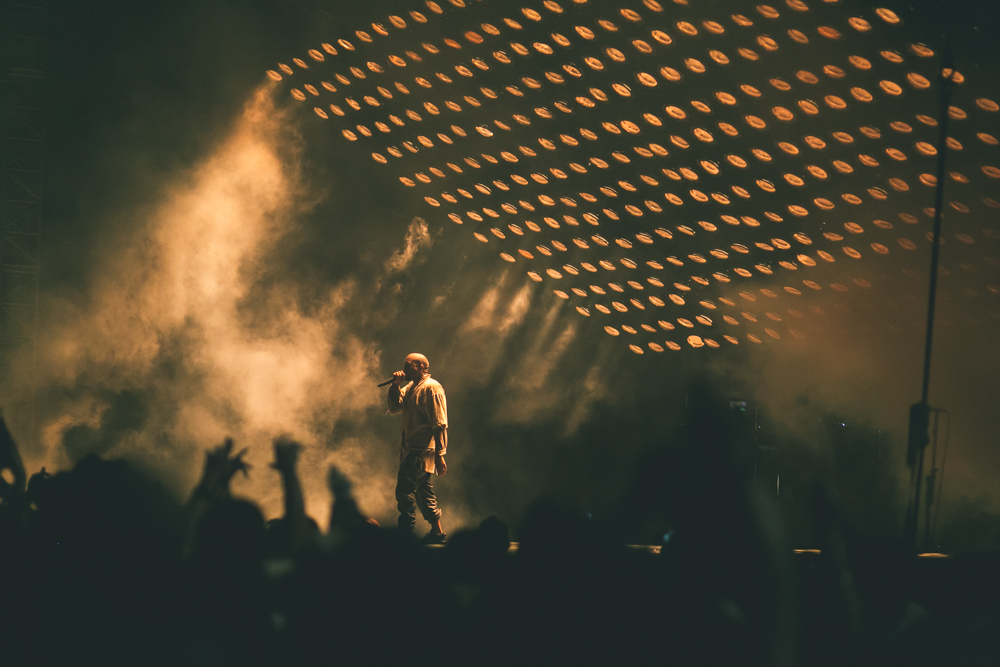 HEADLINER KANYE WEST PERFORMS AT THE 2015 FYF FESTIVAL IN LOS ANGELES. / PHOTO © KAYLA REEFER, SUSPEND MAGAZINE