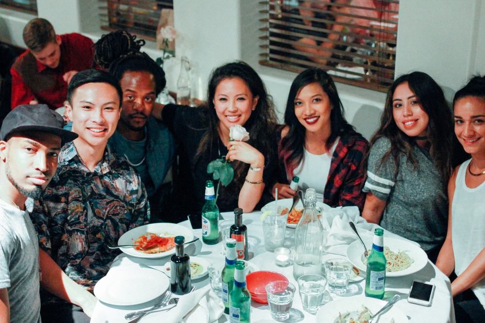 (L-R) Singer Jarell Perry, Jordan Abapo, Arthur Booker IV, Diane Abapo (EIC), Leslie Corpuz, Marla Vazquez, and Vanessa at Mauro's Cafe at Fred Segal on Aug 20. / Photo: © Emil Ravelo