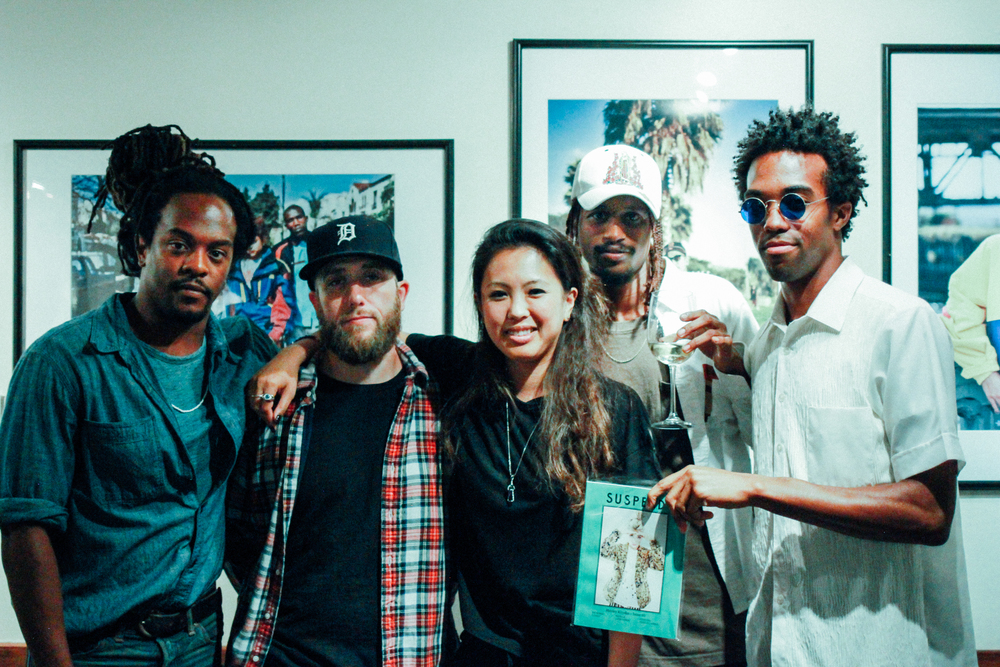(L-R) The family: Arthur Booker IV, Tony Scargall, Diane Abapo (EIC), KT The Terrible, and featured photographer Jonathan Tate at Mauro's Cafe at Fred Segal on Aug 20. / Photo: © Emil Ravelo