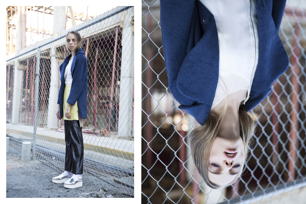 Coat: H&M  Shirt: Maria Vogel  Pants & Skirt: Alfredo Martinez  Bracelat: Jill Jill  Shoes: H&M