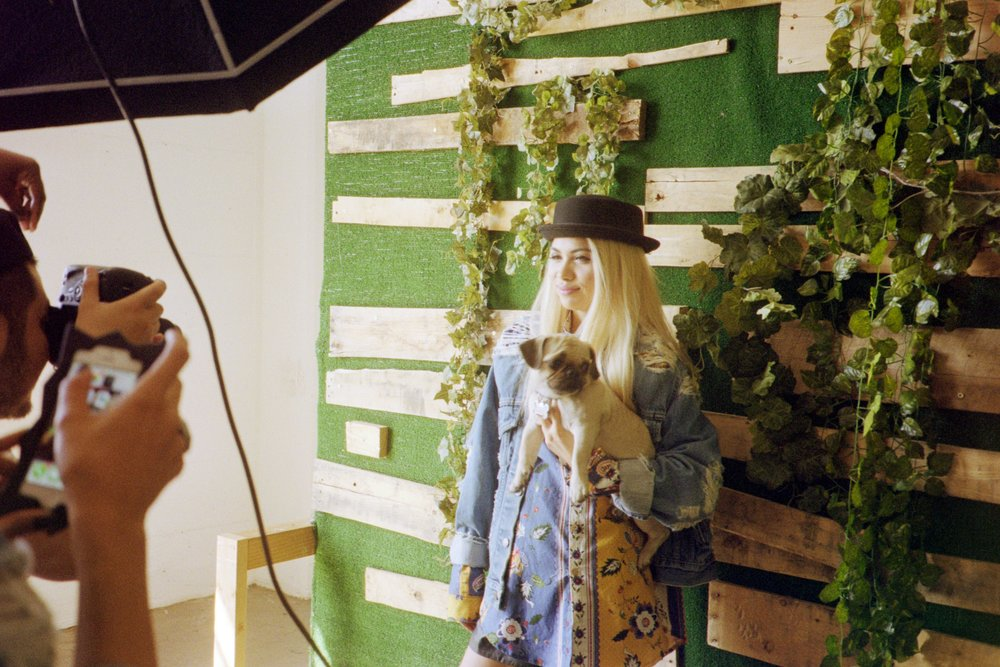 Hayley Kiyoko on the set of her cover shoot for ISSUE 05 of SUSPEND with photographer Randy Nakajima and Prince Reefer. / Photo: © Diane Abapo