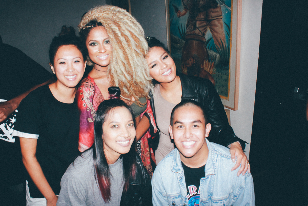 "Racella with the SUSPEND team and artist Candice Pillay at her ""The High"" EP release. / Photo: © Emil Ravelo for SUSPEND Magazine"