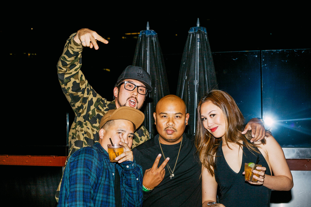 Bam Barcena of HLZ BLZ and GPPR with Dennis Calvero of Crooks & Castles and Peter of AntiHype.TV at #NIGHTSWIMDTLA (Oct 1) presented by SUSPEND Magazine, HLZ BLZ, DOPE Fairfax, Ladies First Events, and LOVE+MADE. / Photo: © Arnelle Lozada