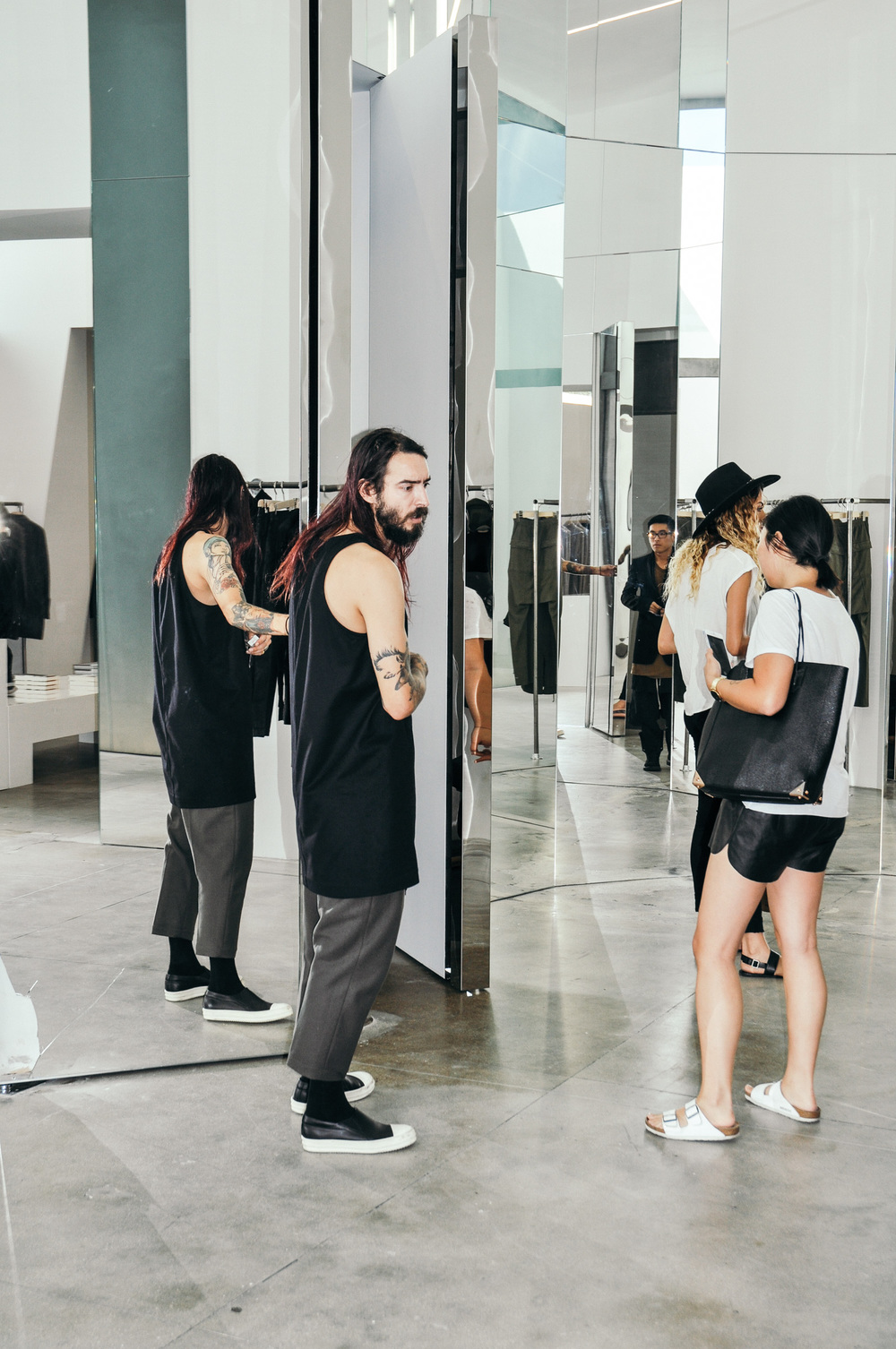 Tony at the Rick Owens flagship store on La Brea Ave in Los Angeles. / Photo: © Arthur W. Booker IV for SUSPEND Magazine
