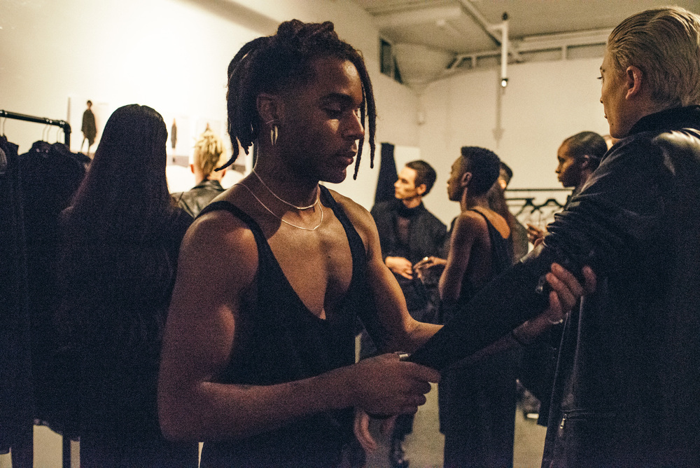 Backstage at the AW15 Sav Noir collection debut in Downtown Los Angeles. / Photo: © Diane Abapo for SUSPEND Magazine
