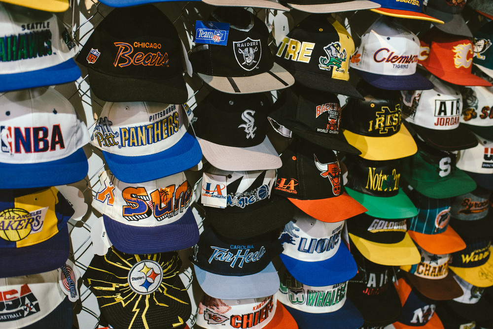 Round Two Hollywood on Melrose Ave and its snapback wall collection. / Photo: © Diane Abapo for SUSPEND Magazine
