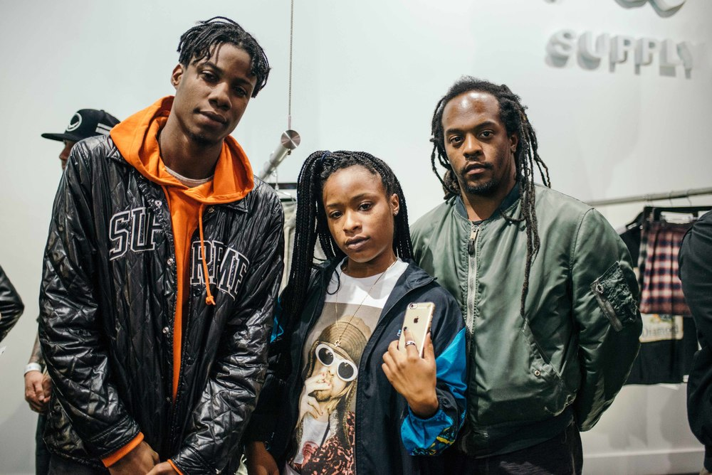 Model Rasheed with Music contributor Georgia Simone and Creative Director Arthur W. Booker IV at the Diamond Womens Launch at Diamond Supply on Fairfax (Nov 13). / Photo: © Diane Abapo for SUSPEND Magazine.
