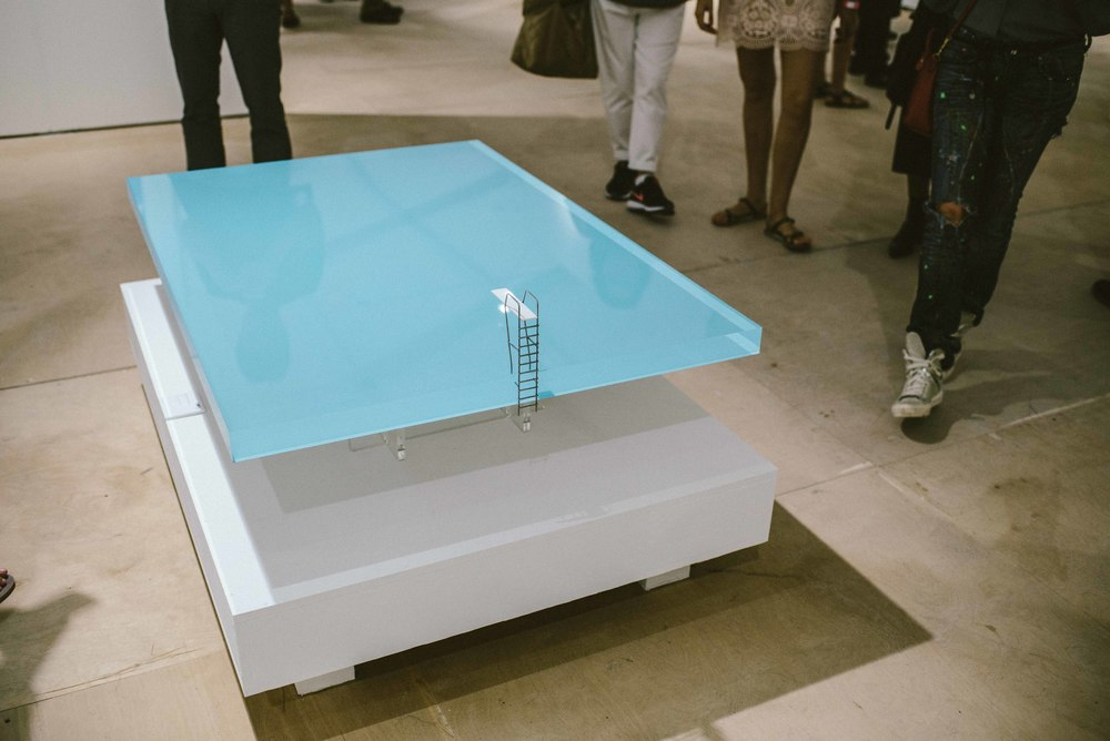 'Pool Table' made from 50mm acrylic reflects and refracts light though its surface in such a way that it resembles the depth and hue of an actual swimming pool, on-display at Scope Art Fair (Dec 5). / Photo: © Diane Abapo for SUSPEND Magazine.