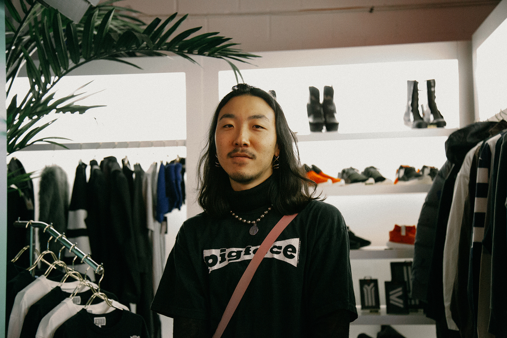 "Kyle J. Pak of Homme Boy at the 424 SS16 ""Americanism"" launch. / Photo: © Angella Choe for SUSPEND Magazine."