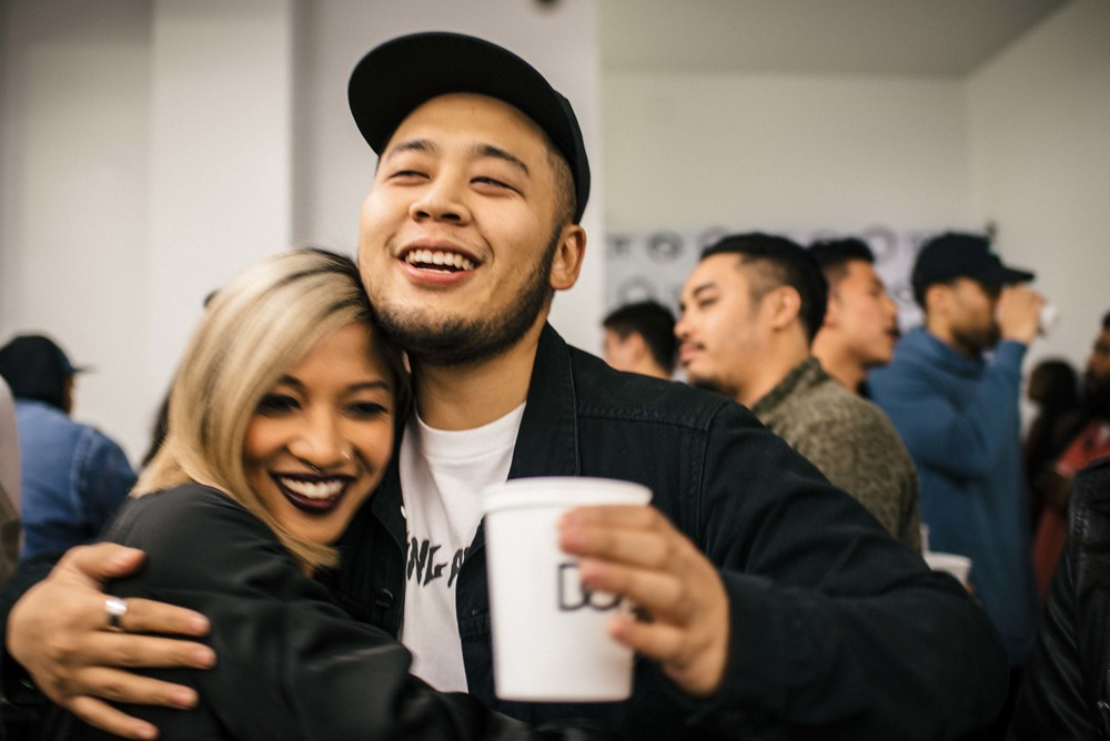 Sandalboyz Launch at Dope Fairfax (Jan 22). Pictured: Leslie Corpuz and Randy Nakajima. / Photo: © Diane Abapo for SUSPEND Magazine.
