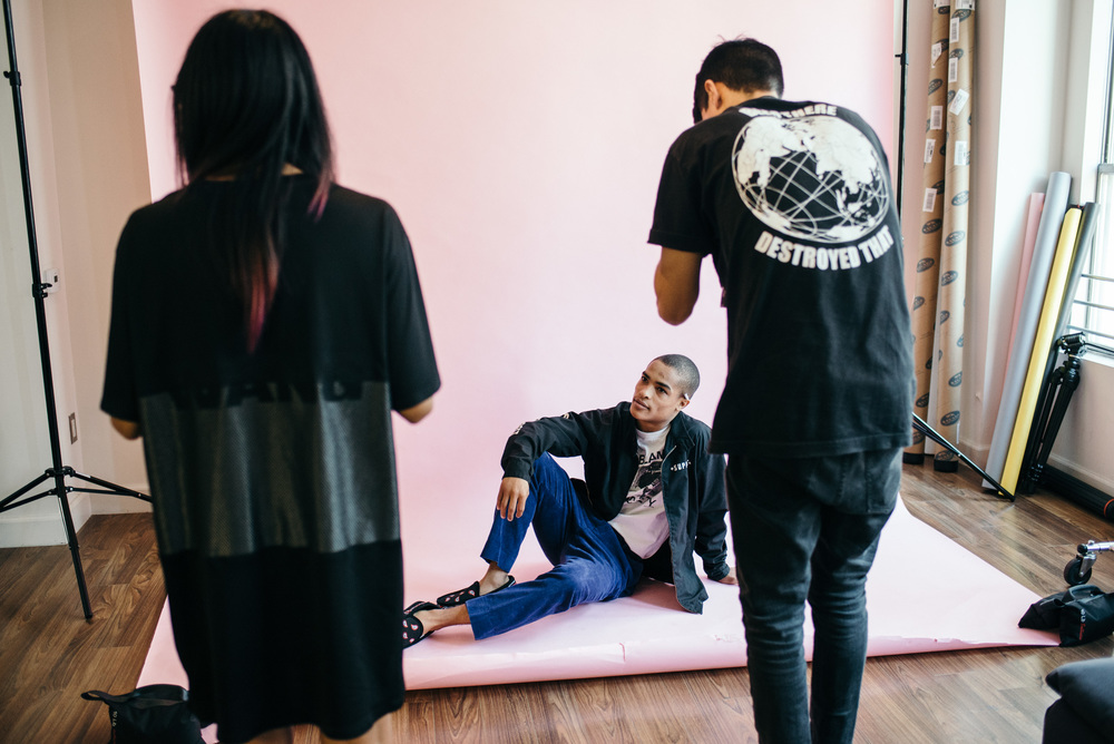 "BTS with Taylor Michael for his ""Too Fast To Live"" Editorial in ISSUE 06. / Photo: © Diane Abapo for SUSPEND Magazine."