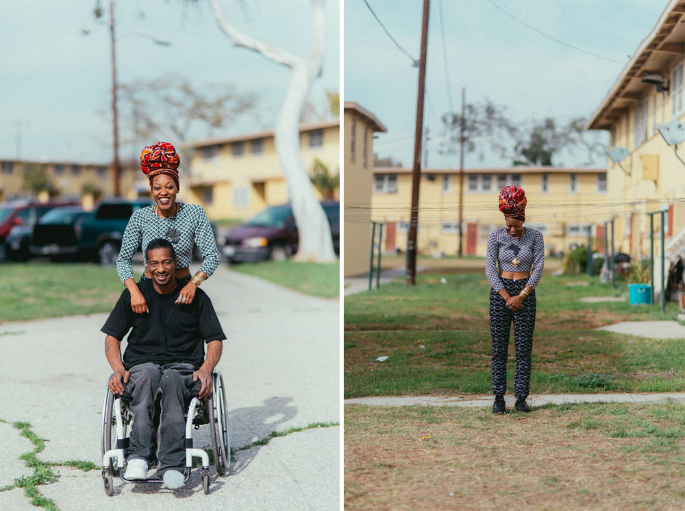 (LEFT) BRITTSENSE PHOTOGRAPHED WITH MARIO IN (WATTS) LOS ANGELES, CALIFORNIA BY © KAYLA REEFER, SUSPEND MAGAZINE