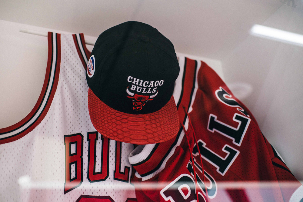 Chicago Bulls memorabilia at the Just Don® Pop-Up in Downtown Los Angeles. / Photo: © Diane Abapo, SUSPEND Magazine.