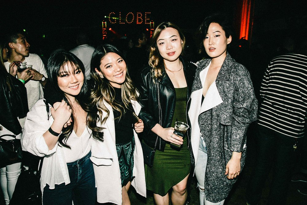 Christy J. Kim of SUSPEND with family and friends at the ISSUE 06 Release Party x 10YR HLZBLZ Anniversary (Feb 11) at Globe Theater. / Photo: © Jonathan Tate for SUSPEND Magazine.
