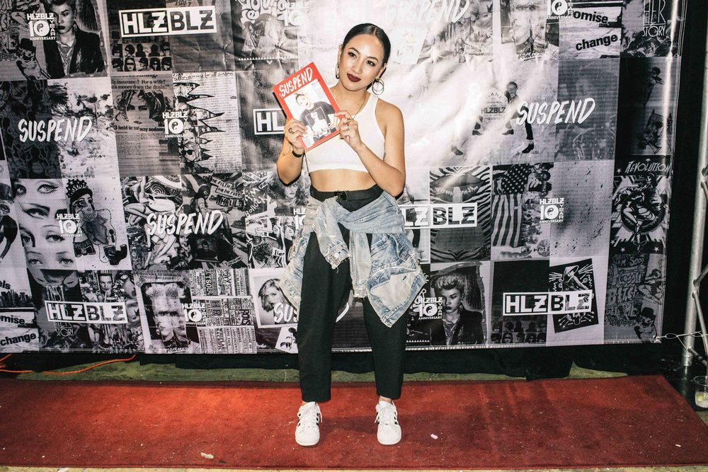 Miss Lawn holding her magazine cover at the ISSUE 06 Release Party x 10YR HLZBLZ Anniversary (Feb 11) at Globe Theater. / Photo: © Jonathan Tate for SUSPEND Magazine.