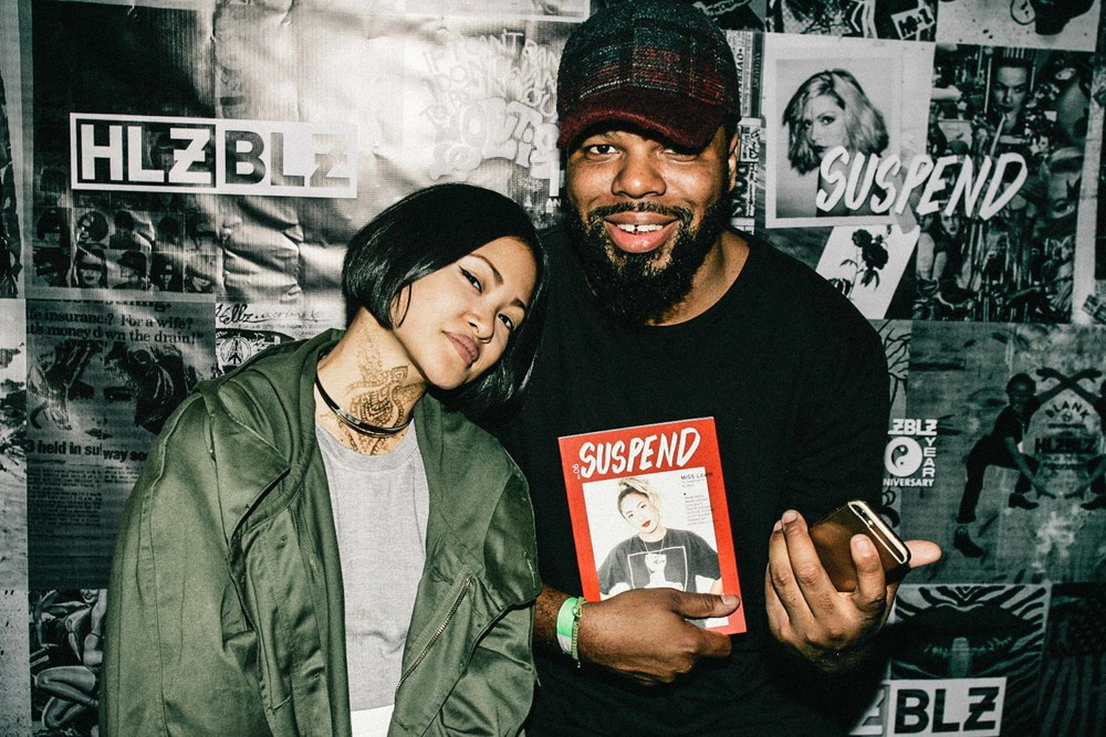 King Marie with Andre Power at the ISSUE 06 Release Party x 10YR HLZBLZ Anniversary (Feb 11) at Globe Theater. / Photo: © Jonathan Tate for SUSPEND Magazine.
