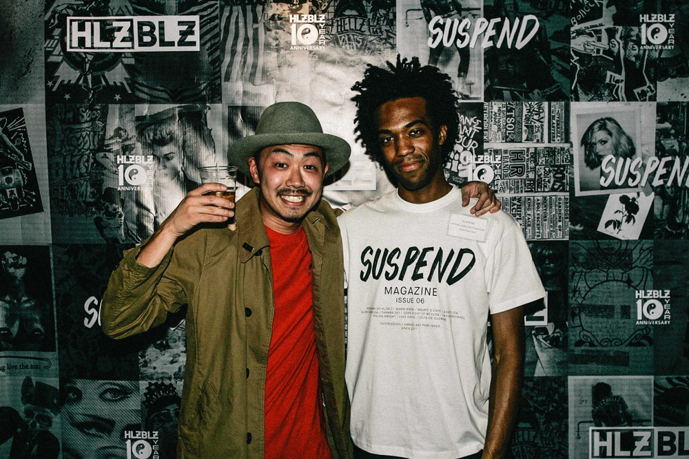 Asato Iida and Jonathan Tate at the ISSUE 06 Release Party x 10YR HLZBLZ Anniversary (Feb 11) at Globe Theater. / Photo: © Jonathan Tate for SUSPEND Magazine.