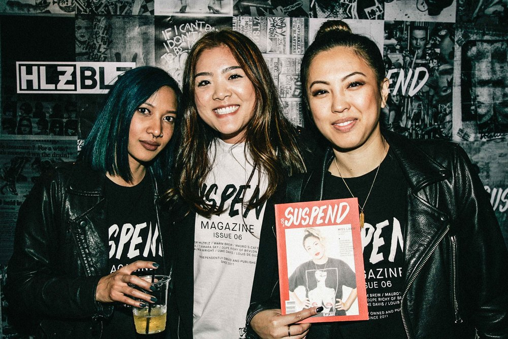 Leslie Corpuz, Hannah Song, and EIC Diane Abapo at the ISSUE 06 Release Party x 10YR HLZBLZ Anniversary (Feb 11) at Globe Theater. / Photo: © Jonathan Tate for SUSPEND Magazine.