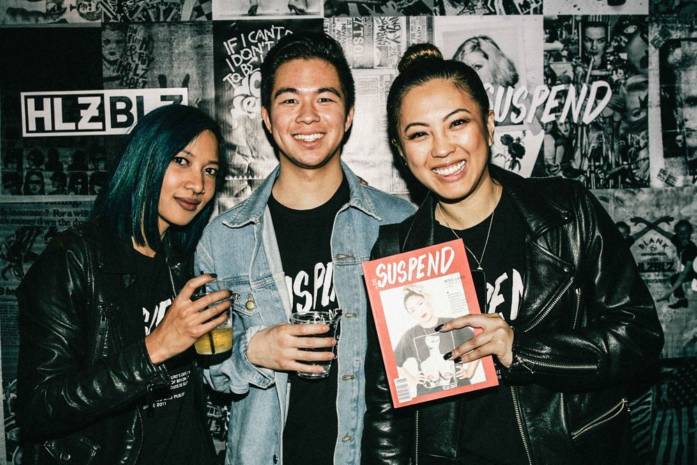 Leslie Corpuz, Brennan de Aguirre, and EIC Diane Abapo at the ISSUE 06 Release Party x 10YR HLZBLZ Anniversary (Feb 11) at Globe Theater. / Photo: © Jonathan Tate for SUSPEND Magazine.