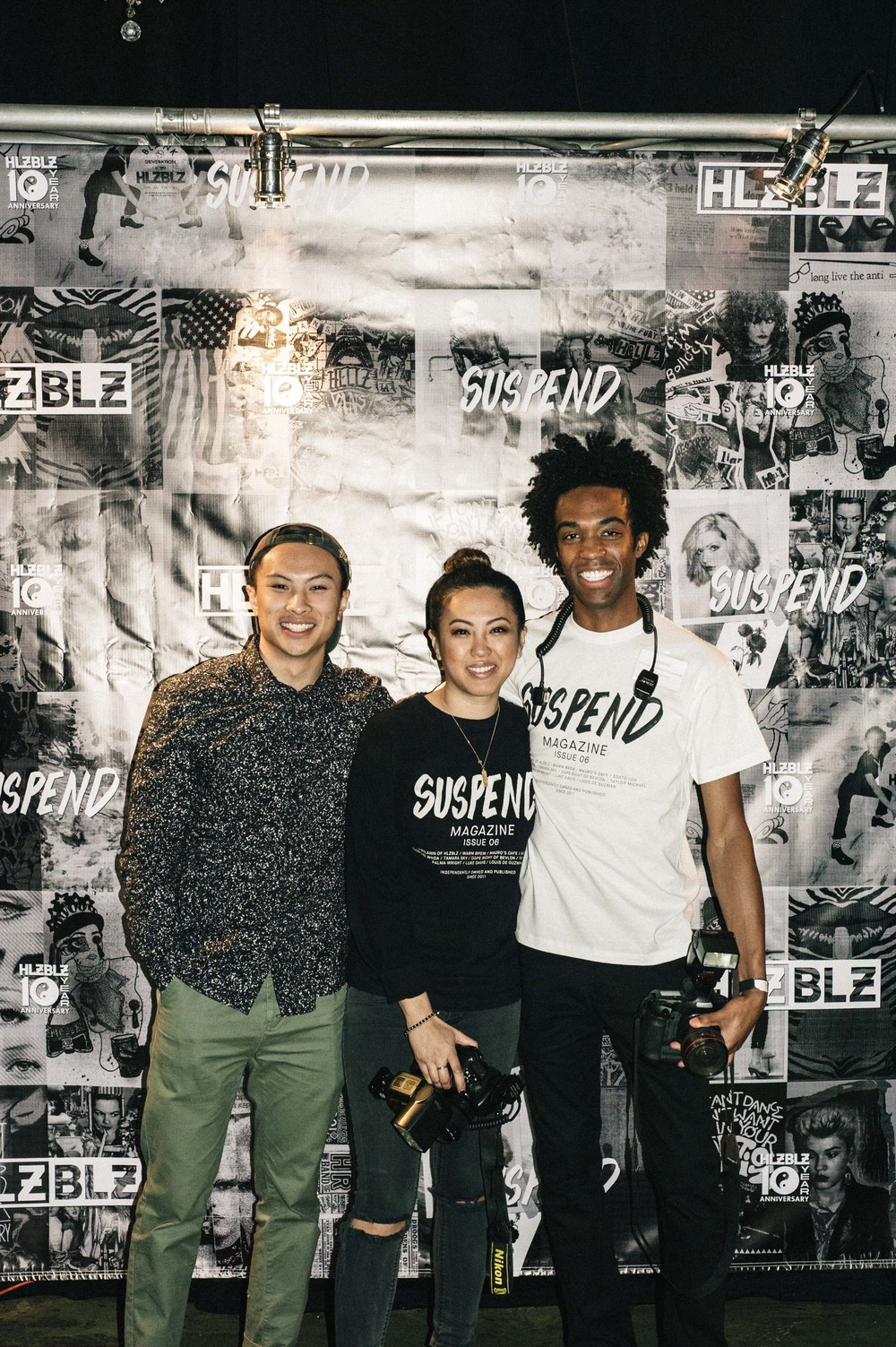 Jordan Abapo,  EIC Diane Abapo and Jonathan Tate at the ISSUE 06 Launch x HLZBLZ 10Year Anniversary (Feb 11) at Globe Theater. / Photo: © Jordan Abapo for SUSPEND Magazine