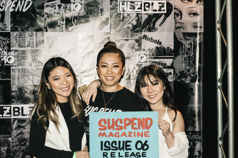 EIC Diane Abapo with SUSPEND photographer Christy J. Kim at the ISSUE 06 Launch x HLZBLZ 10Year Anniversary (Feb 11) at Globe Theater. / Photo: © Jordan Abapo for SUSPEND Magazine