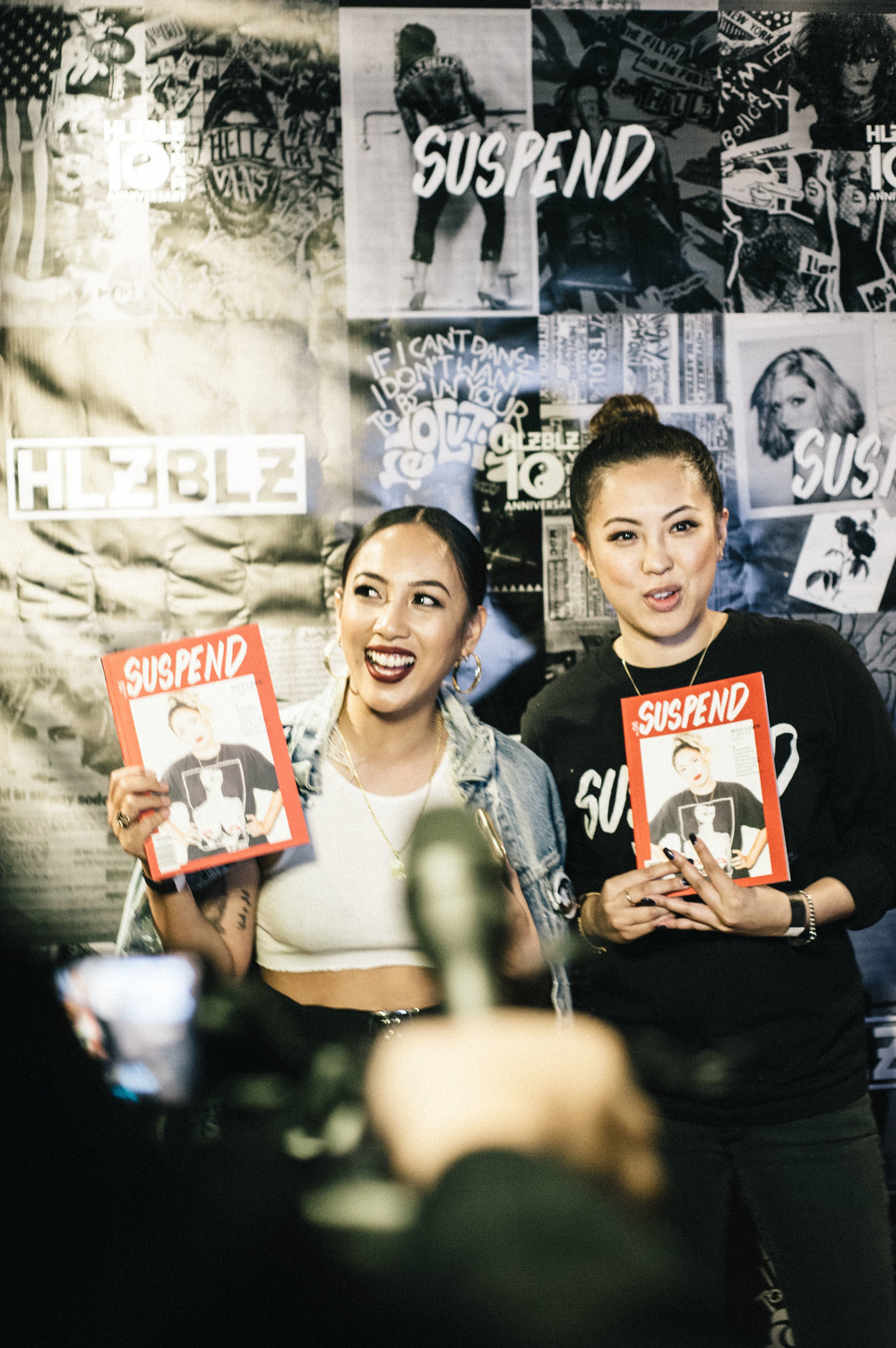 Miss Lawn and EIC Diane Abapo at the ISSUE 06 Launch x HLZBLZ 10Year Anniversary (Feb 11) at Globe Theater. / Photo: © Jordan Abapo for SUSPEND Magazine
