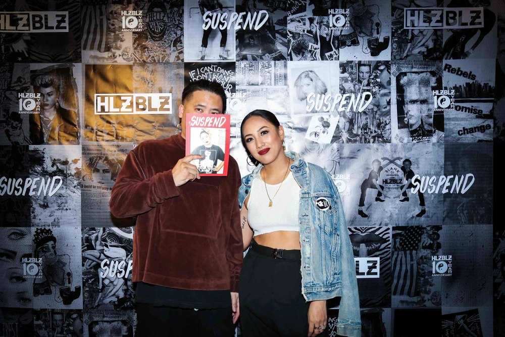 Covergirl Miss Lawn with Bam Barcena at the ISSUE 06 Release Party x HLZBLZ 10-Year Anniversary (Feb 11). / Photo: © Angella Choe for SUSPEND Magazine