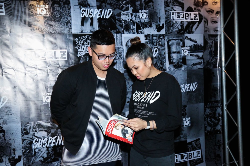 Louis De Guzman and EIC Diane Abapo at the ISSUE 06 Release Party x HLZBLZ 10-Year Anniversary (Feb 11). / Photo: © Angella Choe for SUSPEND Magazine