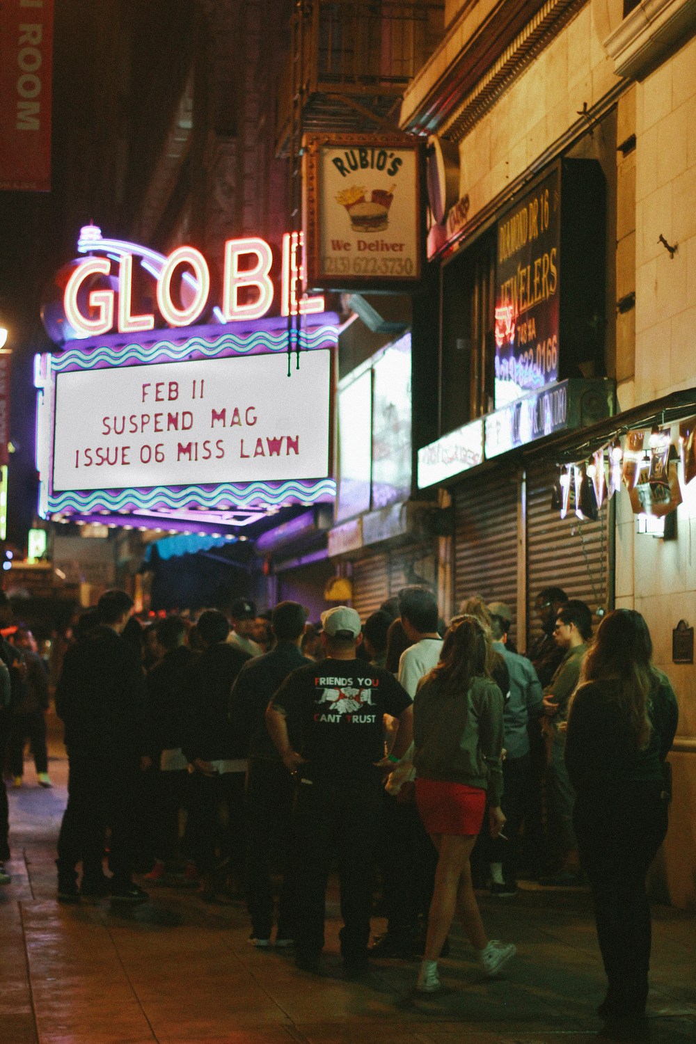 The line outside the SUSPEND Magazine ISSUE 06 Launch at Globe Theater (Feb 11). / Photo: © Emil Ravelo, SUSPEND Magazine.