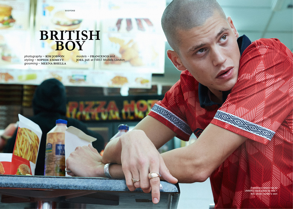 "Francesco Cuizza for ""British Boy"" photographed by Kim Jobson in ISSUE 06 of SUSPEND Magazine."