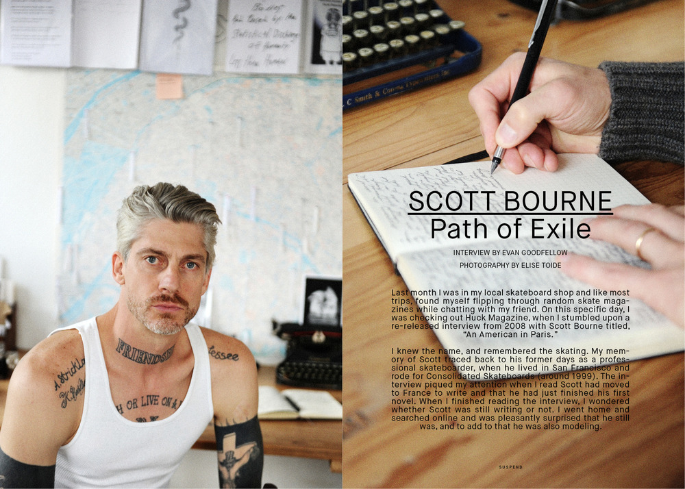 """Scott Bourne: Path of Exile"" interviewed by Evan Goodfellow and photographed by Elise Toide in ISSUE 06 of SUSPEND Magazine."