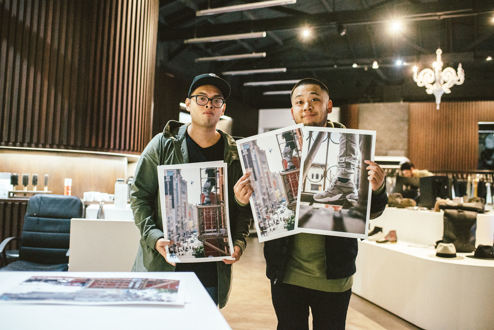 "PUMA and Team Cozy team up for ""Streets of Los Angeles"" (March 11) at The Well. Pictured: Louis De Guzman (ISSUE 06) with Team Cozy Brand Manager, Randy Nakajima, holding his prints. / Photo: © Diane Abapo for SUSPEND Magazine."