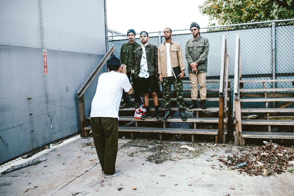 Behind the scenes with Alexander Spit shooting the Spring 2016 The Hundreds Lookbook zine in Vernon, Calif. / Photo: © Diane Abapo for SUSPEND Magazine.